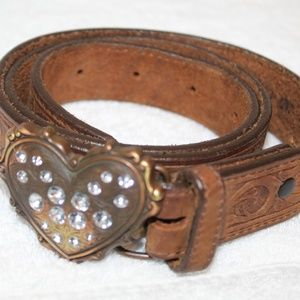Justin brown tooled leather heart western belt